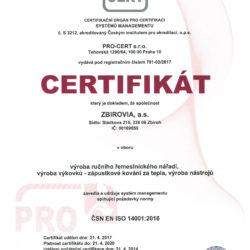Certifikát ISO 14001-2016