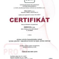 Certifikát ISO 9001-2016