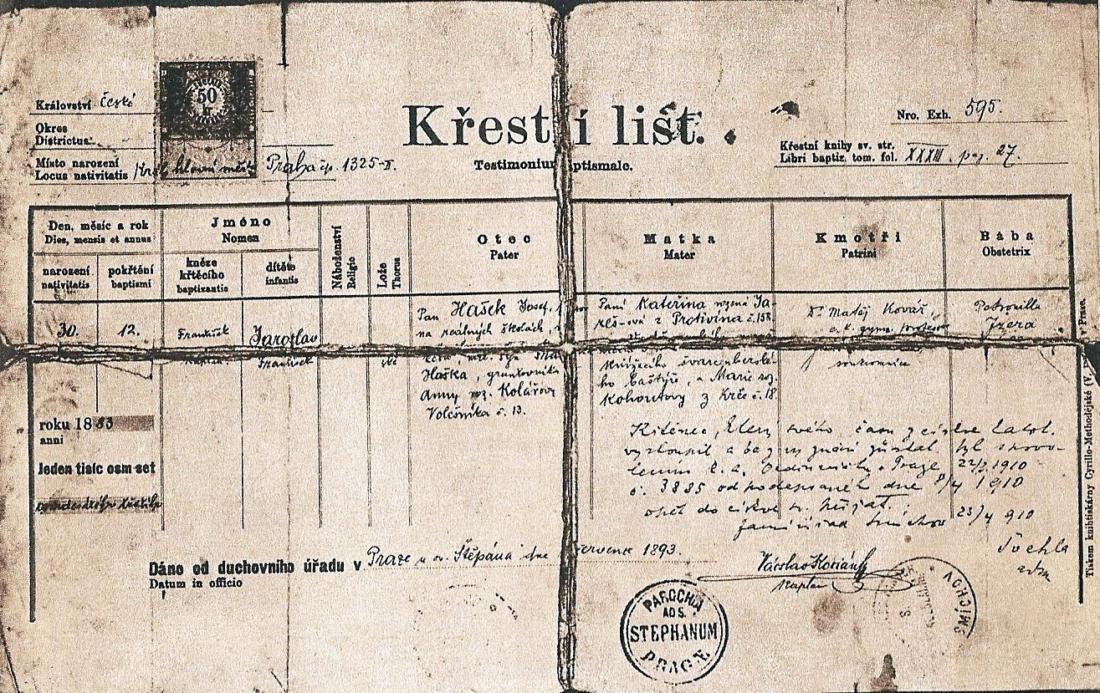 Křestní list Jaroslava Haška